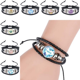 $enCountryForm.capitalKeyWord Australia - family member jewelry I Love You Mom leather Jewelry Bracelets Lucky Jewelry For Mun Charm Bracelets Best Gift Family Bless Bracelete