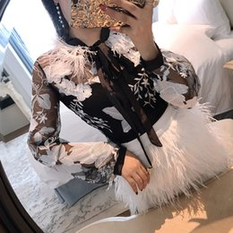 $enCountryForm.capitalKeyWord Australia - Alphalmoda Spring Summer New Model Women's Clothing Fashion Sexy Feather Neckline Embroidery Lace Blouse Shirt Y190822