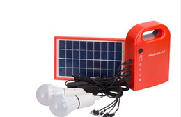 Discount solar power kits - Portable Solar Power Home System Energy Kit Include 4 in 1 USB Cable Solar Panel 2 Lamps For Lighting and Charging Every