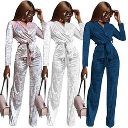 Pink Velour Set Australia - New Arrival Women Outfit Velet Two Piece Sets Long Sleeve V Neck Tops and Long Pants Velour Women Leisure Wear Sets Suit P307