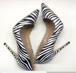 Striped Bottom Dress Australia - 2019 Zebra pattern high heels Fine heel Cusp single shoes nightclub women's shoes dress dance wedding 12cm 10cm 8cm large size 44 red bottom
