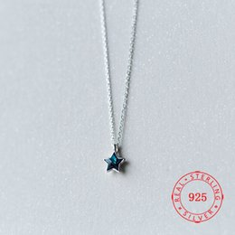 Blue Star Pendant Australia - Hot Selling real 925 sterling silver small pendant five star five-pointed necklace with blue rhinestone for men women jewelry