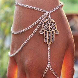 chain finger rings Canada - New Steet Style Bracelets Asymmetric Women Hamsa Fatima Bracelet Finger Ring Slave Chain Hand Harness Fashion Jewellery Chains Charm Bangle
