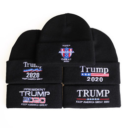 soccer beanie NZ - New Comfortable Winter Cap Casual Headwear 2020 Trump Embroidery Knitted Hats Outdoor Warm Breathable Skullies Beanies Adult Caps M106Y