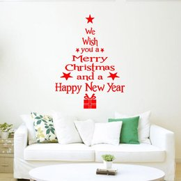 wall sticker tree white Australia - 1 Pcs Merry Christmas Tree Snowman Christmas New Year Shop Window Wall Sticker White Red Christmas Decorations Snowflake Party New