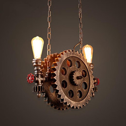 $enCountryForm.capitalKeyWord Australia - Gear Pendant Light Vintage Iron Pipe Pendant Lamps Bar Loft Industrial Hanging Lamp Wood Gear Light Fixture For Restaurant