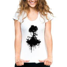 Tee Tree Australia - Tree t shirt Black root short sleeve tees Crow bird tops Fadeless print clothing Pure color colorfast modal Tshirt
