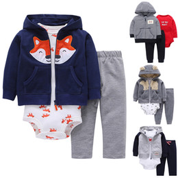 $enCountryForm.capitalKeyWord NZ - New Born Baby Boy 3pcs Clothes Set Hooded Jacket + Romper + Long Pants Boy Girl Clothing New Cotton Soft Bebes Infant J190520