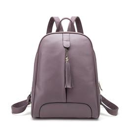 $enCountryForm.capitalKeyWord Australia - Decent2019 Backpack Women's Genuine Leather Both Shoulders Computer Trend Tassels Zipper Street Leisure Time Tide A Bag Woman Korean School