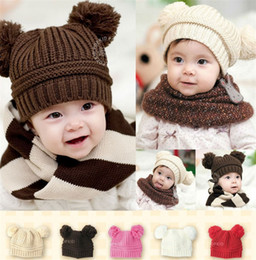 Toddler Skull Beanie Australia - Infant Baby Unisex Double Bobbles Beanies Toddler Knitted Ribbed Dual Ball Hats Children Kids Autumn Winter Warm Solid Color Caps 5 Color
