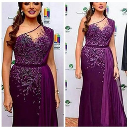 Backless slim prom dresses online shopping - 2020 One Shoulder Lace Arabic Evening Dresses Beaded Slim Chiffon Prom Party Gowns Middle East Vestidos De Pageant Wear Formal