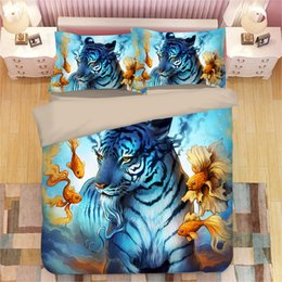 $enCountryForm.capitalKeyWord Australia - Goldfish Tiger Art Luxury Bedding Sets Paradise Lion Animal Pattern Pillow Case Quilt Cover No Filler Bed SetCartoon Twin King Size Original
