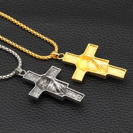 Pharaoh Pendants online shopping - Cross Pendant Necklace for Men Metal Creative Cross Color Gold and Silver Pharaoh Head Pendant Necklace Long Chain Necklace