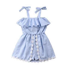 2020 Summer Baby Girls dress Striped Sleeveless Pantskirt Lace Up Bowknot Flower Dresses Romper Jumpsuits Kids Princess Dress E22601 on Sale