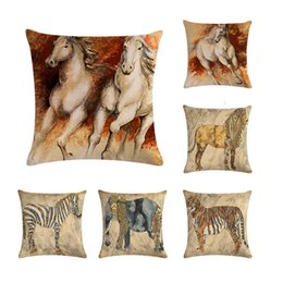 Painting oil Paints online shopping - Realistic Horse Zebra Tiger Pillow Case Cushion Pillow Cover oil painting Cushion Cover Pillows Cotton Linen Square ZY233