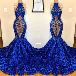 gold evening dress chapel train Australia - Royal Blue Keyhole Mermaid Prom Dresses 2019 Rose Flowers Long Chapel Train Sheer Neck GOld Applique Beads African Evening Gown BC1213