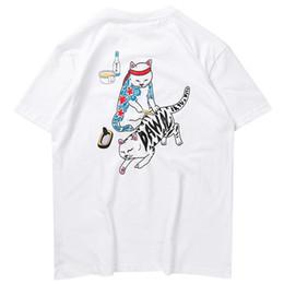 31a76abf Funny cat shirts online shopping - 2019 Streetwear T Shirt Funny Cat Ukiyoe  Japanese Style Men