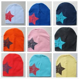 Discount baby cap knitting design - soft Geometric design male and female head cap five Pentagonal Star Cap baby cotton knitted hat elastic dome child cap T
