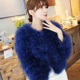 $enCountryForm.capitalKeyWord Australia - Luxury Warm Ladies Coat Ostrich Hair Fur Coat Women Short Turkey Feather Jacket Winter Long Sleeve Overcoat White Black Blue