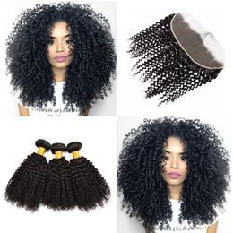 brazilian kinky hair closure bundle 2019 - Kinky Curly Remy Hair Bundles With Closure Wholesale Kinky Curly Virgin Human Hair Bundles With 13x4 Closure Free Shippi