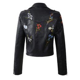 $enCountryForm.capitalKeyWord UK - Women faux leather jacket embroidery Biker Jackets Aviator coat new Short motorcycle Coats with Belt Female S-XL Jaqueta couro 19SS