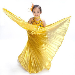 Wholesale 3 colors Professional Girl handmade belly dance wings baby angel wings for children Isis gold silver without sticks dance wing
