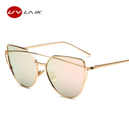 74a0f8d80e1f UVLAIK Classic Women Cat Eye Sunglasses Fashion Flat Panel Twin-Beams Frame Sunglass  Female Mirror Rose Gold Lens Sun Glasses