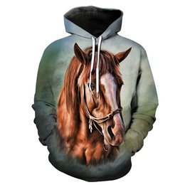 China wholesale Drop shipping 2019 New Fashion painting 3d hoodies Animal horse Creative Print Men Women Casual Hooded Sweatshirt suppliers