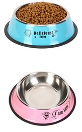 Feeding Products Australia - Pet Product For Dog Cat Bowl Stainless Steel Anti-skid Pet Dog Cat Food Water Bowl Pet Feeding Bowls Tool 2 Colors