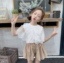 EmbroidEry slEEvElEss blousE online shopping - Summer kids blouse girls lace gauze floral embroidery caps lapel shirt children lace princess tops children clothing fit T F7099