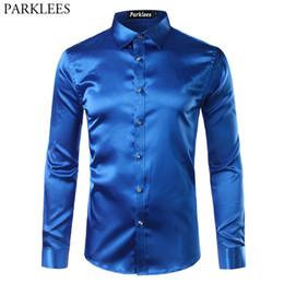 Emulation silk shirts online shopping - Silk Satin Shirt Men Brand New Emulation Silk Casual Mens Dress Shirts Long Sleeve Slim Fit Chemise Homme Men Social