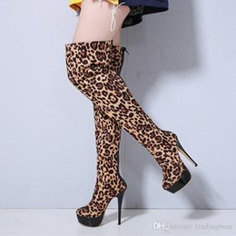 2463e946cc96 Sexy2019 Platform High Heels Leopard Over The Knee Boots Thigh High Boots  Women Party Club Dance Shoes Size To