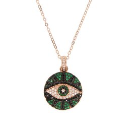 $enCountryForm.capitalKeyWord UK - 2019 summer fashion jewelry round coin disco engraved turkish evil eye women charm Rose gold color geometric trendy necklace