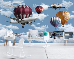 $enCountryForm.capitalKeyWord Australia - Wallpaper custom fashion Nordic minimalist hand-painted cartoon airplane balloon children room background wall