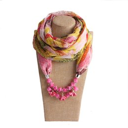 wholesale woven wraps NZ - Spring Summer Style 175*45CM Warm Scarf Charm Shawl Acrylic With Flower Pendant Acrylic Necklace Wraps Jewelry Vintage Pashmina