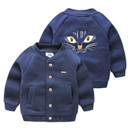 korean kids clothes winter autumn Australia - Baby Cartoon Baseball Uniform Autumn and Winter Clothing Korean New Boy Children's Clothing Kids Fleece Jacket Coats