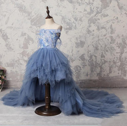 Wedding Beaded Prom Graduation Dresses Australia - Dust Sky Blue High Low Flower Girl Dresses For Wedding Off The Shoulder Appliqued A Line Pageant Gowns Tulle Beaded Kids Prom Dress