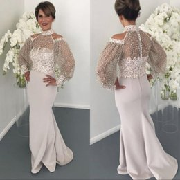 Vintage mother pearl online shopping - Designer Arabic Mermaid Prom Dresses New Arrival High Neck Sheer Long Sleeves Appliques Pearls Long Formal Evening Mother Gowns