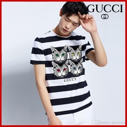 Kitten Shirts Australia - 2019 hot men and women models round neck summer four kittens pattern print wide stripe personality net red with couple short-sleeved T-shirt