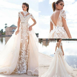 MerMaid wedding dresses detachable trains online shopping - 2019 New Design Mermaid Wedding Dresses With Detachable Train Lace High Neck Short Sleeve With Detachable Train Beach Bridal Gowns Plus Size