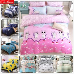 kitty cat bedding 2019 - Cute Kitty Cat Pattern Pink Duvet Cover 3 4 pcs Bedding Set Kids Child Soft Bed Linens Single Full Double Queen Size Qui