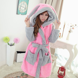 Wholesale winter robes for women for sale - Group buy Hooded Flannel Patchwork Women s Sleeprobe Cartoon Animal Thicken Warm Robes Female Sleepwear Winter Homewear For Woman