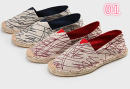 Spring Fall Canvas Shoes Australia - Wholesale straw hemp bottom shoes spring summer new lovers breathable canvas shoes lazy fisherman hemp rope shoes 3A 001