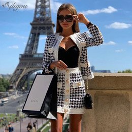 round skirt dress Australia - Ailigou 2019 Winter New Women'S Houndstooth Tweed 2 Sets Of Sexy Long-Sleeved Round Neck Button Coat + Skirt Vestidos Party Suit T200702