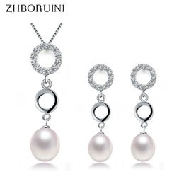 925 Silver Pearls Necklace Australia - ZHBORUINI 2019 Pearl Jewelry Sets Natural Pearl Necklace Earrings Double Loop 925 Sterling Silver Jewelry Set For Women Gift