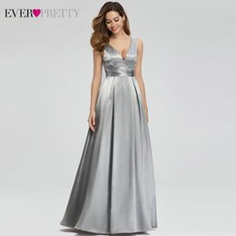 $enCountryForm.capitalKeyWord Australia - Grey Satin Evening Dresses Long Ever Pretty A-Line Double V-Neck Formal Dresses Women Elegant Party Gowns Robe De Soiree 2019