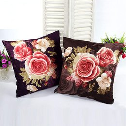 $enCountryForm.capitalKeyWord UK - 45x45cm Pillowcase 3D Rose Printed Pillow case Pillow Cover Throw Case Living Room Bed Room Flower Peony Purple Gray@25