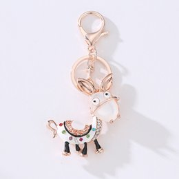 $enCountryForm.capitalKeyWord Australia - Enamel Donkey HandBag Pendant Crystal Keyring Keychains For Car Purse Bag Buckle Party Gift Key chains Holder