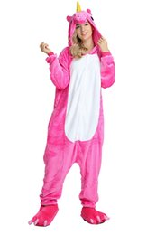 $enCountryForm.capitalKeyWord UK - Rose Red Fushia Women Unicorn Pajamas Long Sleeves Fleece Hooded Adults Home Wear Mascot Costumes Sleep Wear Night Party Wear Warm