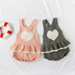 Sweet Baby Clothes Australia - Newborn Baby Rompers Sweet Heart Shape Infant Jumpsuit Winter Autumn Baby Girl Boy Knitted Sweater Princess Ruffles Clothes